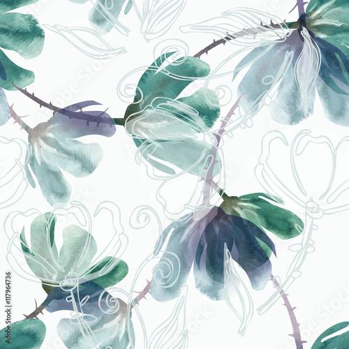 akwarela-bezszwowe-wzor-zielony
