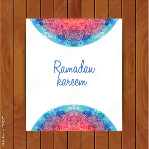 Photo  Watercolor mandala, lace ornament made of round pattern in oriental style