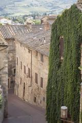 Panel Szklany Toskania Street in San Gimignano Village; Tuscany