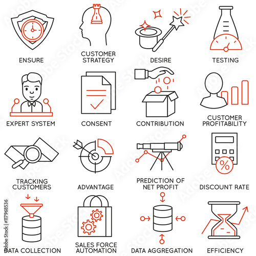 Photo Vector set of 16 icons related to business management, strategy, career progress and business process