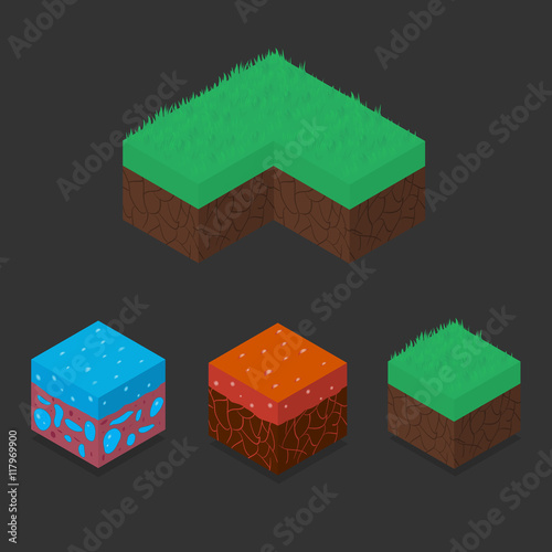 Photo  Collection set of 3D Isometric Landscape Cubes - Ground Grass, Water, Lava Element