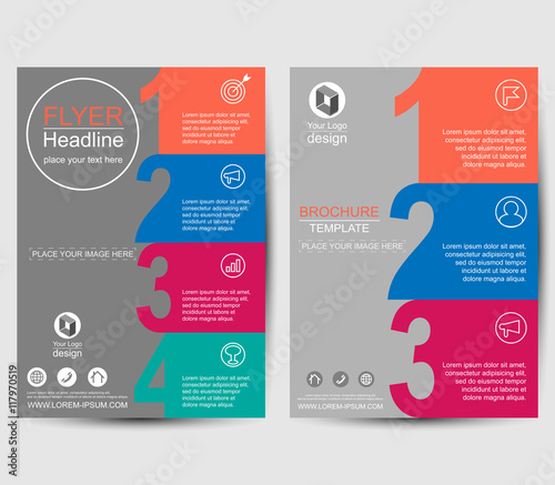number style business layout annual report brochure flyer template