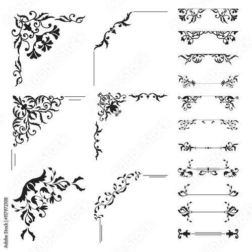 Photo Floral corner and divider collection. Decorative element set
