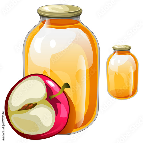 Banks with delicious juice or jam and apple Wallpaper Mural