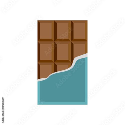 Fotografia, Obraz  Chocolate icon in flat style on a white background