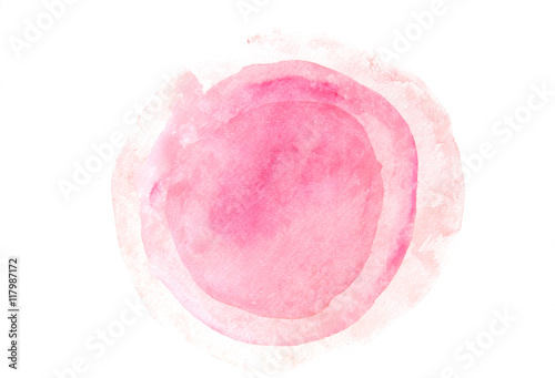 fototapeta na lodówkę Pink circles on white, watercolor illustrator