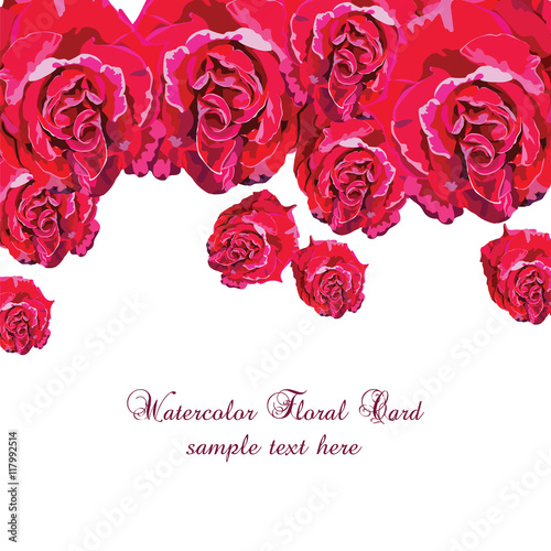 Delicate Pink Roses Bouquet Card Vector Rose Flower For Background Greeting Cards And Invitations Of