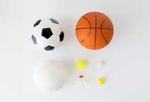 Close Up Of Different Sports Balls And Shuttlecock