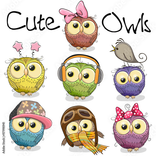 Keuken foto achterwand Uilen cartoon Set of cute cartoon owls