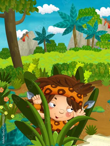 Cartoon nature scene - jungle - with funny manga boy - happy illustration for children #118000523