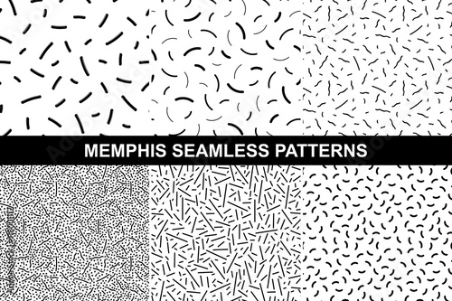 Fototapety, obrazy: Collection of retro memphis patterns - seamless.
