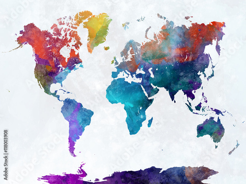 Stampa su Tela  World map in watercolor
