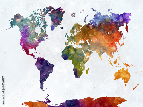 Türaufkleber Weltkarte World map in watercolor