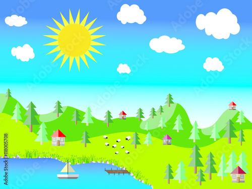 Poster Lime groen colorful nature landscape