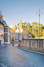 Roman Walls And Piazza Del Popolo In Rome Of Italy