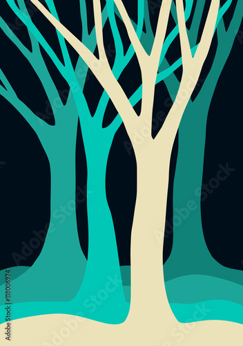 Blue tree silhouettes forest illustration - 118006974