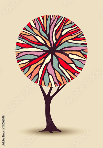 Fototapeta Abstract tree illustration with colorful shape