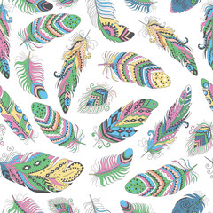 Panel Szklany Feathers Boho Seamless Pattern.