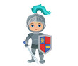Vector Illustration of little knight isolated on white background.