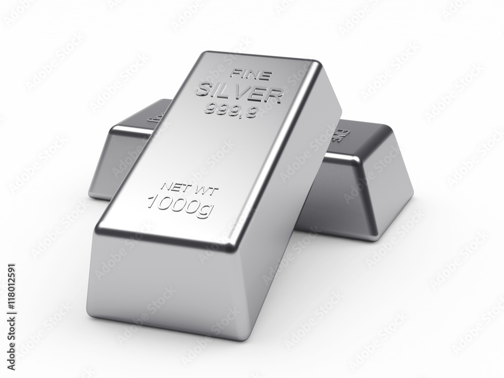 Fototapety, obrazy: Banking concept. Two silver bars isolated on a white background. 3d illustration.