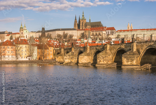 Photo  Charles Bridge over the river Vltava in Prague