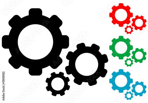 Fotografía  Icono plano engranajes en varios colores