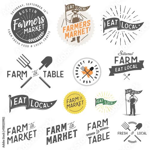 Vintage farm and farmers market labels, badges, emblems and design elements Fototapete