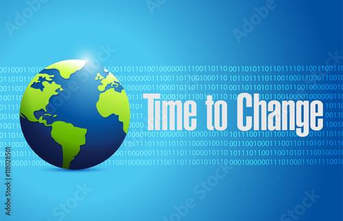 Fotografie, Obraz  time to change binary globe sign concept