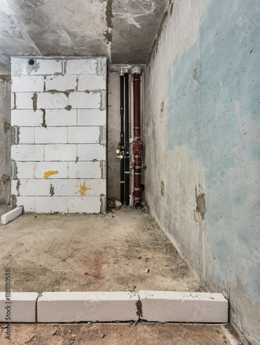 Fototapety, obrazy: Being renovated house,  apartment, radiator, foam concrete block, pipe, strut, sewerage