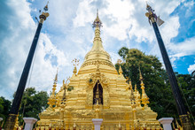 The Golden Pagoda Of Wat Sri Mung Muang Temple In Chiang Mai The Capital Of Northern Thailand.