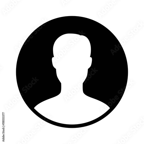Fotografía  Male user account profile circle flat icon for apps and websites