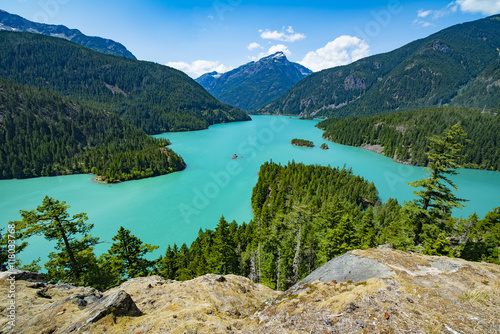 Lake Diablo Man Made Aqua Green Colored Lake in the North Cascades off Highway 2 Wallpaper Mural
