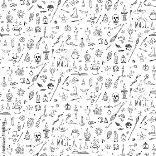 Seamless pattern hand drawn doodle Magic icons set  Vector