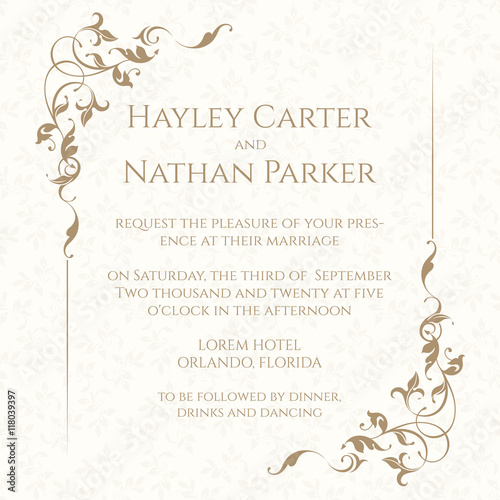 Fotografía  Invitation card with floral frame on seamless background