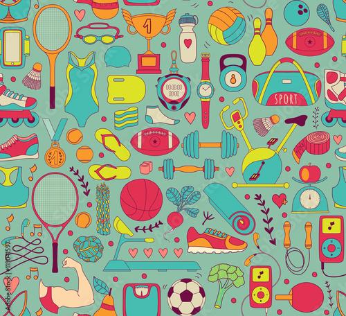 doodle-elementy-sportowe-ilustracji-wek