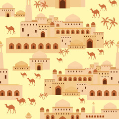 Tapeta Islamic seamless pattern with the image of the ancient Middle Eastern city. A mirage in the desert.