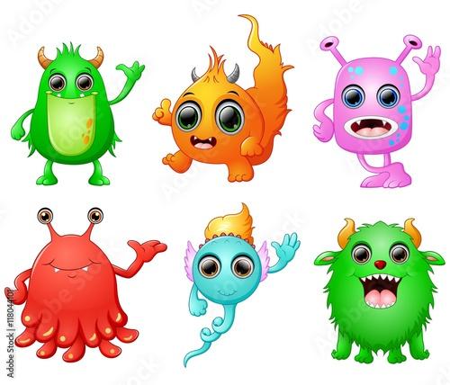 Deurstickers Halloween monster set collection