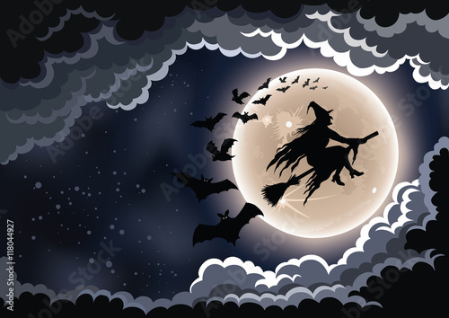 Spoed Fotobehang Halloween Wicked witch flying by the moon background.