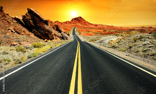 Spoed Foto op Canvas Route 66 Road at sunset