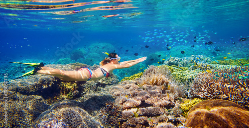 Fotobehang Duiken Young woman at snorkeling in the tropical water