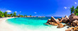 Leinwandbild Motiv amazing tropical holidays in paradise beaches of Seychelles,Praslin