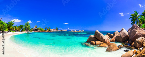 Photo Stands Tropical beach amazing tropical holidays in paradise beaches of Seychelles,Praslin