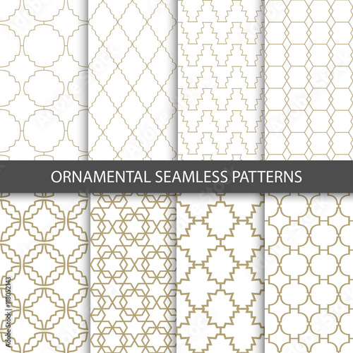 Fototapety, obrazy: Ornamental grid patterns in vintage style - seamless