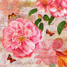 Vintage Collage With Pink Rose...
