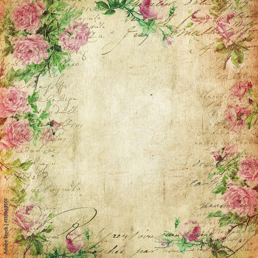 Vintage Background - Floral Illustration - Old Paper Texture