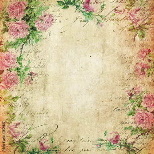 Foto op Plexiglas Retro Vintage Background - Floral Illustration - Old Paper Texture