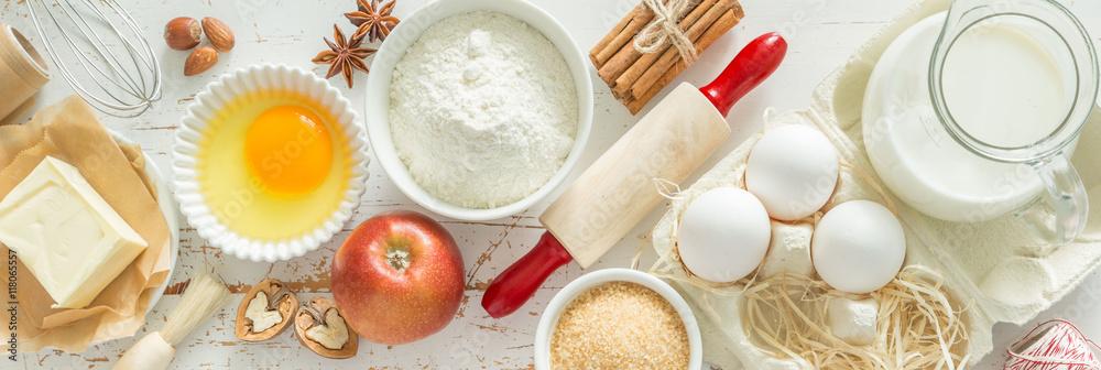 Fototapety, obrazy: Baking ingredients background