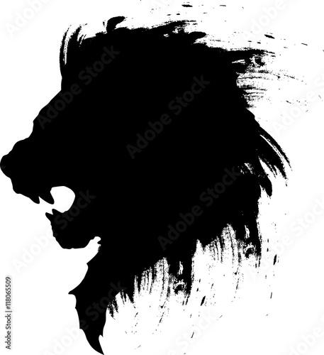 Naklejka premium tatuaż głowy lwa-3