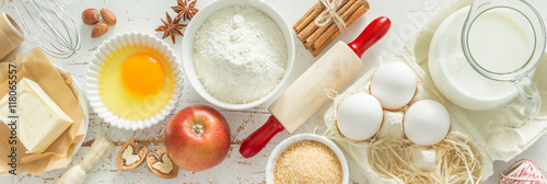 Baking ingredients background Fotobehang
