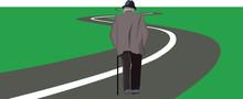 Anziano Cammina Sulla Strada